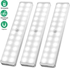 LED Closet Light, 24-LED Newest Version Rechargeable Motion Sensor Closet Light Under Cabinet Wireless Stick-Anywhere Night Light Bar with Large Battery for Stairs,Wardrobe,Kitchen,Hallway (3 Packs)