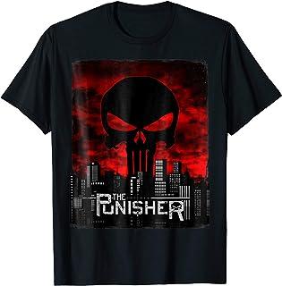 Marvel The Punisher Skyline Cityscape Skull Graphic T-Shirt