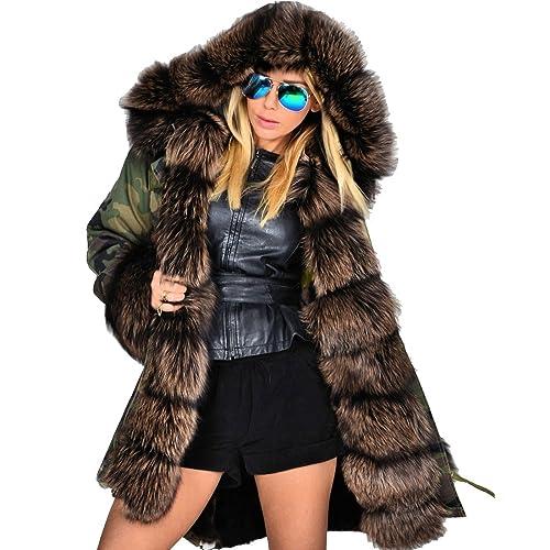 6f678b6af9a9 Roiii Womens Hooded Camouflage Warm Winter Coats Faux Fur Jacket Parka  Overcoat