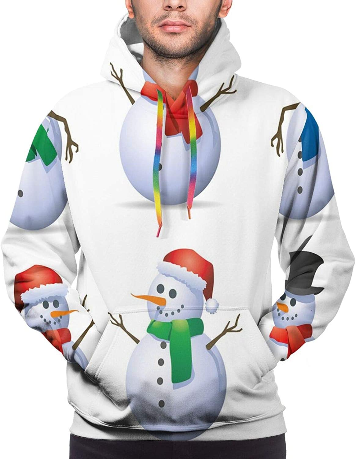 Men's Hoodies Sweatshirts,Snowman with Magic Wand and Fir Branches Covered with Snow Winter Night