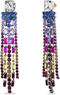 Steve Madden Rainbow Rhinestone Chandelier Dangle Earrings for Women