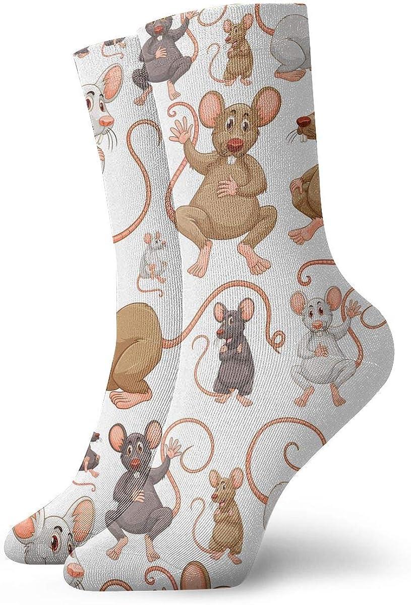 LCZ Cartoon Rats Athletic 30cm Socks Ankle Socks Sport Casual Socks Cotton Crew Socks