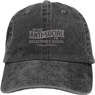 I'm Not Anti-Social I'm Selectively Cool Cotton Baseball Unisex Cap Back Adjustable Denim Vintage Hats