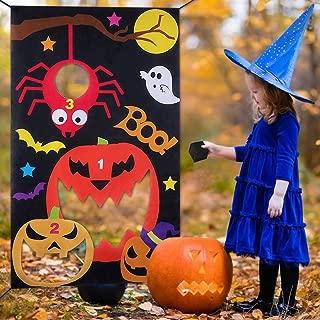 B bangcool Pumpkin Toss Game with 3 Bean Bags, Halloween Carnival Parties Games Outdoor Fun Acivities for Kids and Adults