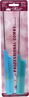 Krest Pintail Combs Weaving Foiling Fine Tooth Rattail Hair Cutting Comb, Blue and Aqua 2 Pc.
