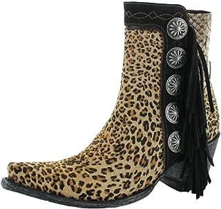 DOUBLE D RANCH Womens Skat Kat Leopard Concho Fringe Shortie Boot