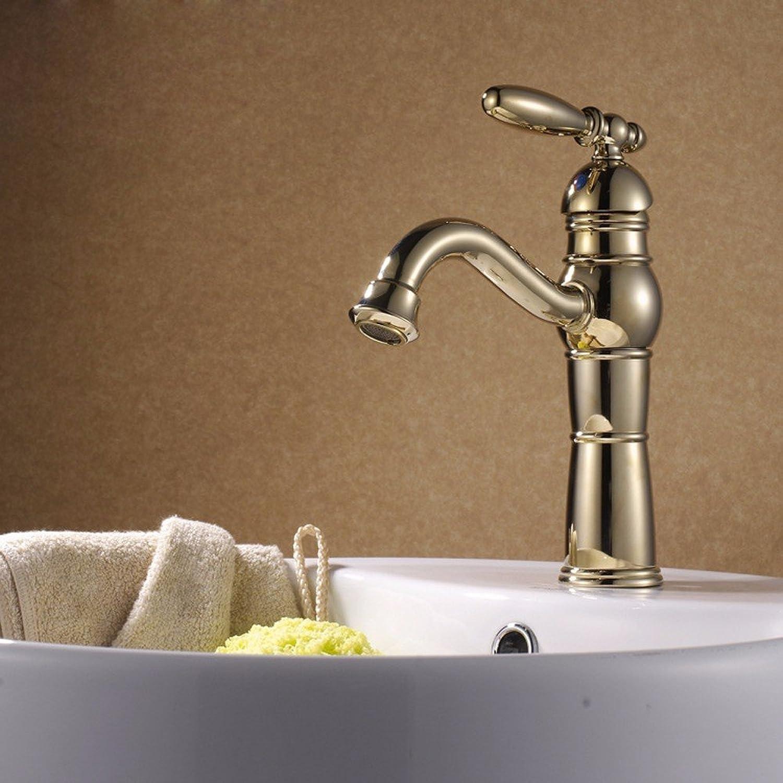 Waschtischarmatur Wasserhahn Küche Mit Herausziehbarer Dual-Spülbrause Spiralfederhahn Wasserhahn Kaltes Und Heies Wasser Vorhanden Beckenhahn, Einlifthahn, Alles Verkupfert VerGoldet