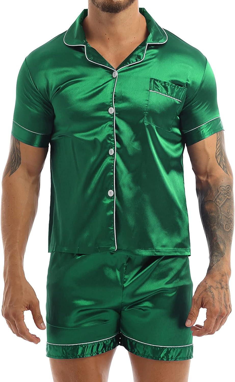 YiZYiF Men's Short Sleeve Satin Casual Nightshirt Top and Shorts Pajama Sleepwear Lounge Set