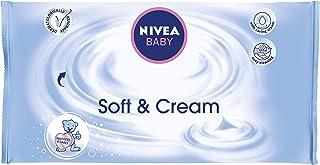 NIVEA BABY Chusteczki nawilżające Soft & Cream (1 x 63 sztuki), wilgotne chusteczki do delikatnego czyszczenia wrażliwej s...