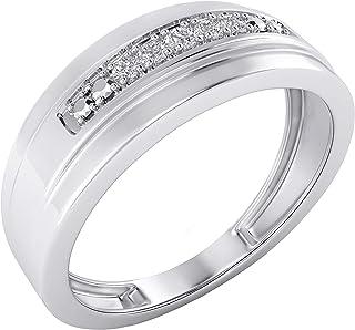مجوهرات تريليون 0.10 قيراط ألماس طبيعي من الذهب الأبيض عيار 14 قيراطًا على شكل خاتم الخطوبة للرجال