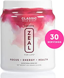 Zurvita Zeal for Life 30 Day Wellness Canister, Wild Berry (Classic), 420 Grams | Vegan Approved, Greens Powder with Minerals, Dietary Fiber, Essential Fatty Acids, and Sterols