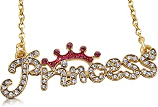 Princess Necklace Topped with Pink Crystal Crown Fashion Jewelry