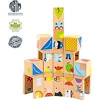 MEIGO Toddler Educational Preschool Dominoes Shape Wooden Puzzle Toys
