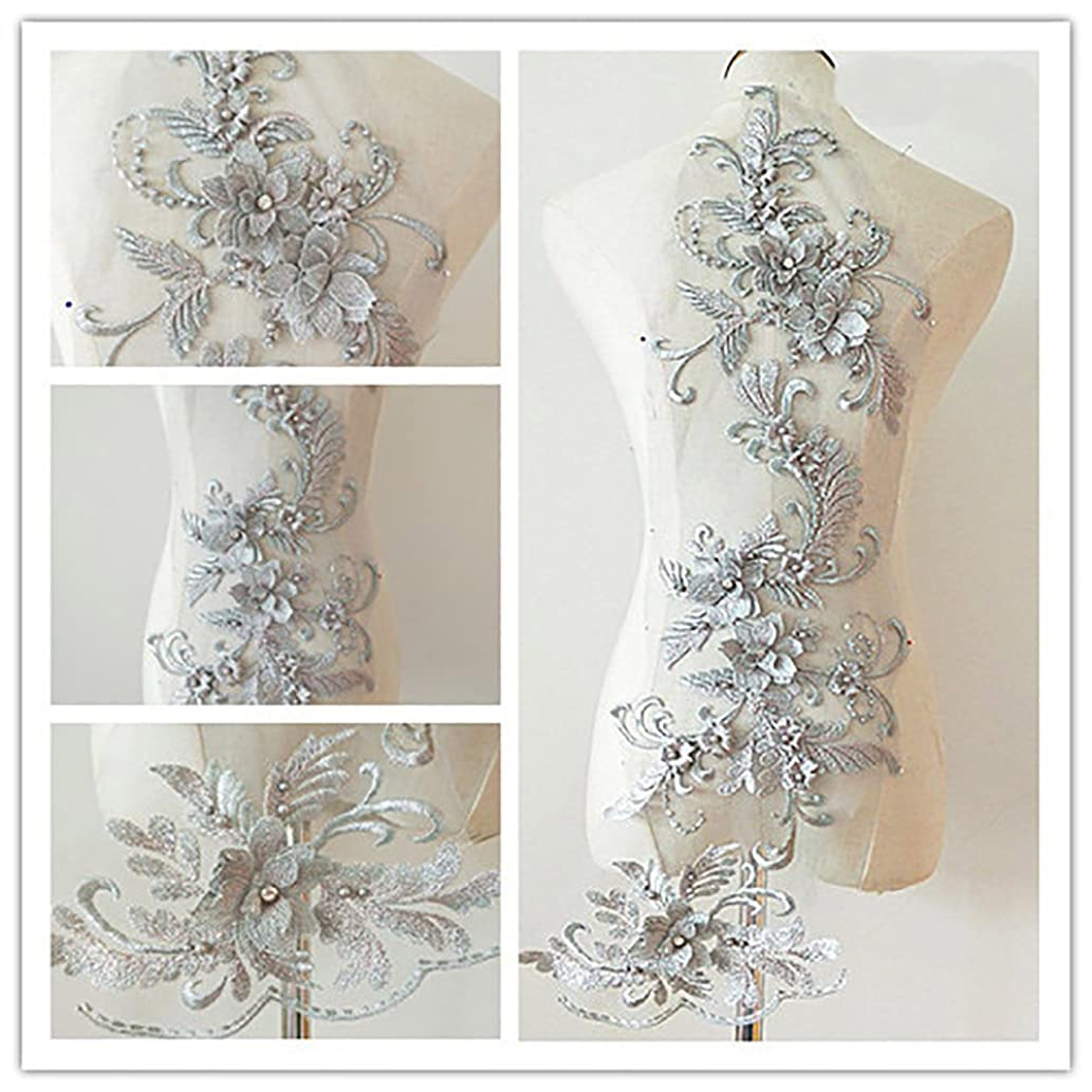 3D Beaded Flower Sequence lace Applique Motif Sewing Bridal Wedding 3in1 20cmx72cm (Silver)