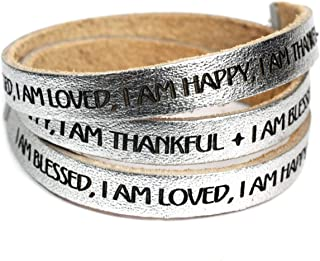 DIllon Rogers I Am Blessed, I Am Loved, I Am Happy, I Am Thankful -Designer Leather Wrap Bracelet - Metallic Silver