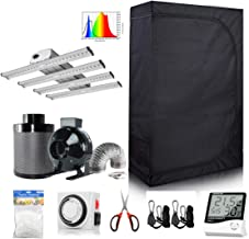Hydro Plus 48''x24''x72'' Small Grow Tent Kit+240W Full Spectrum LED Grow Light+4'' Inline Fan Carbon Filter Ventilation Kit for Indoor Growing (48''x24''x72'' Kit)
