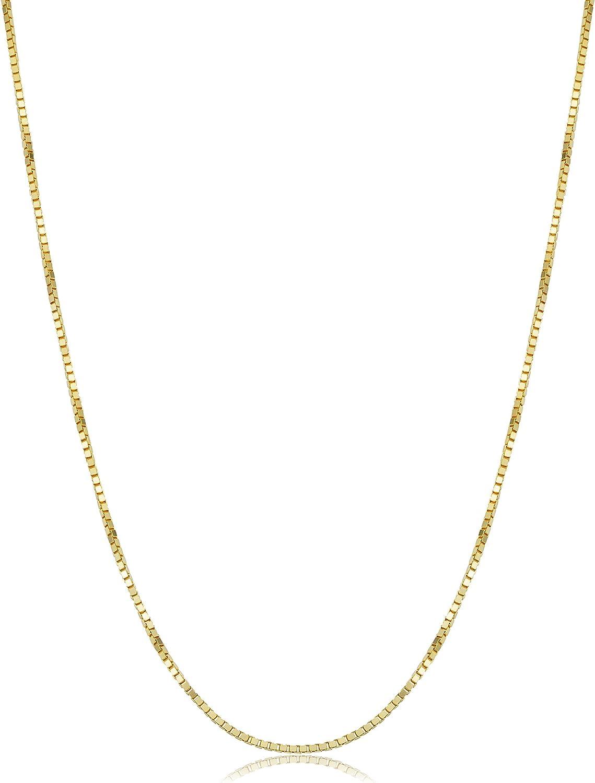 Kooljewelry 14k Yellow Gold 1 mm Venetian Box Chain Necklace