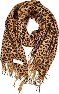 Animal Print Fringed Shoulder Pashmina Wrap Scarf - Leopard Zebra Patterns