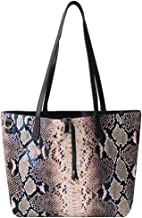 Van Caro Women's Faux Leather Snakeskin Handbag Large Tote Shoulder Bag