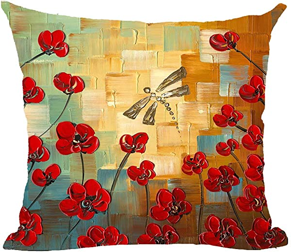 Oil Painting Poppy Flower Dragonfly Art Cotton Linen Throw Pillow Covers Case Cushion Cover Sofa Decorative Square 18x18 Inch Decorative Pillow Wedding Birthday