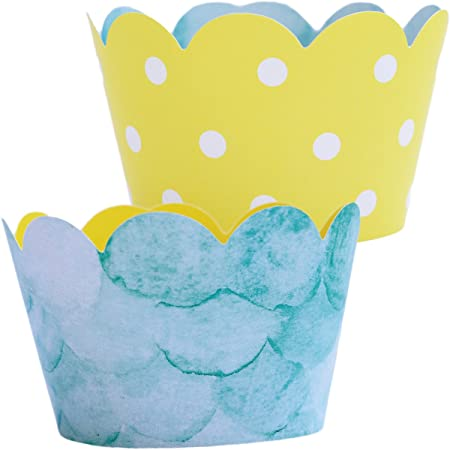 Catch a Wave Wave Cupcake Wrappers Baby Shower Happy Birthday At the Beach Pool Party Cupcake Wrappers Party Decorations
