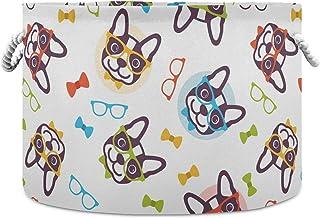 Okrągły kosz do przechowywania kolorowe okulary francuski pies składany wodoodporny kosz na pranie dla dzieci pokój dzieci...