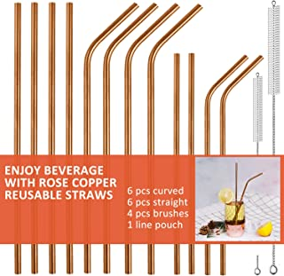 Stainless Steel Drinking Straws Reusable Straw Set of 12 Extra Long Metal Straws for 30/20oz Tumblers Beverage Mason Jar (6 Bent+6 Straight + 4 Brushes),Rose Copper