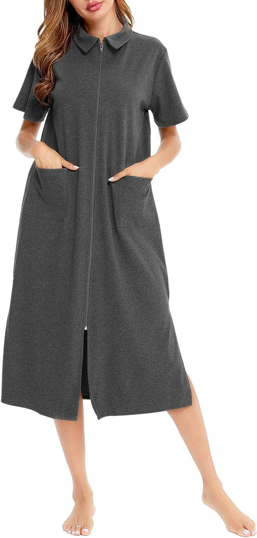SWOMOG Housecoat Zipper Robes for Women Short Sleeve Zip Up Nightgown Robe with Pockets