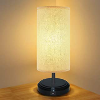 BRTLX テーブルランプ タッチセンサー式 無段階調光 2個LED電球付き(5V) 電球色 昼白色USB給電 ベッドサイドランプ和風 テーブルライト ナイトライト 間接照明 常夜灯 寝室 リビング用 誕生日プレゼント