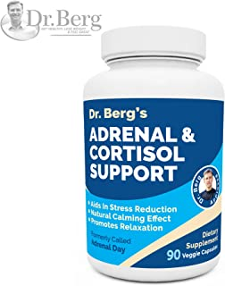Dr. Berg's Adrenal & Cortisol Support Supplement - Natural Stress & Anxiety Relief for a Better Mood, Focus and Relaxation; Turn Off Your Busy Mind, Vegetarian Ingredients : 90 Capsules (1 Pack)