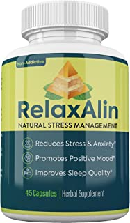 RelaxAlin Stress & Anxiety Relief Supplement Premium Herbal Formula Supporting Calm | Daily Vitamin with Peppermint | Cort...
