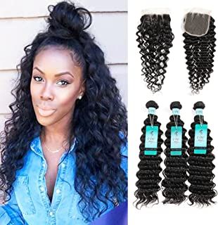 Brazilian Deep Wave Bundles with Closure, UDU Deep Curly Hair 3 Bundles with Lace Closure Brazilian Curly Weave Human Hair Loose Deep Curly Bundles with Closure Pineapple Wave Curly