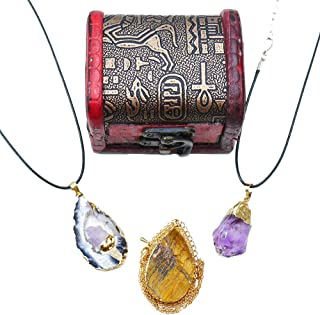 Gift Box, Healing Crystal Necklaces: Natural Tiger Eye, Natural Brazilian Agate, Amethyst Crystal for Yoga Meditation, Healing, Anxiety Relax