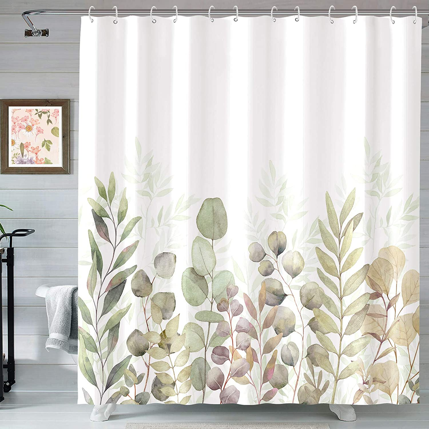 Houston Mall AMM Max 50% OFF Green and White Shower B Fabric Curtains Curtain for