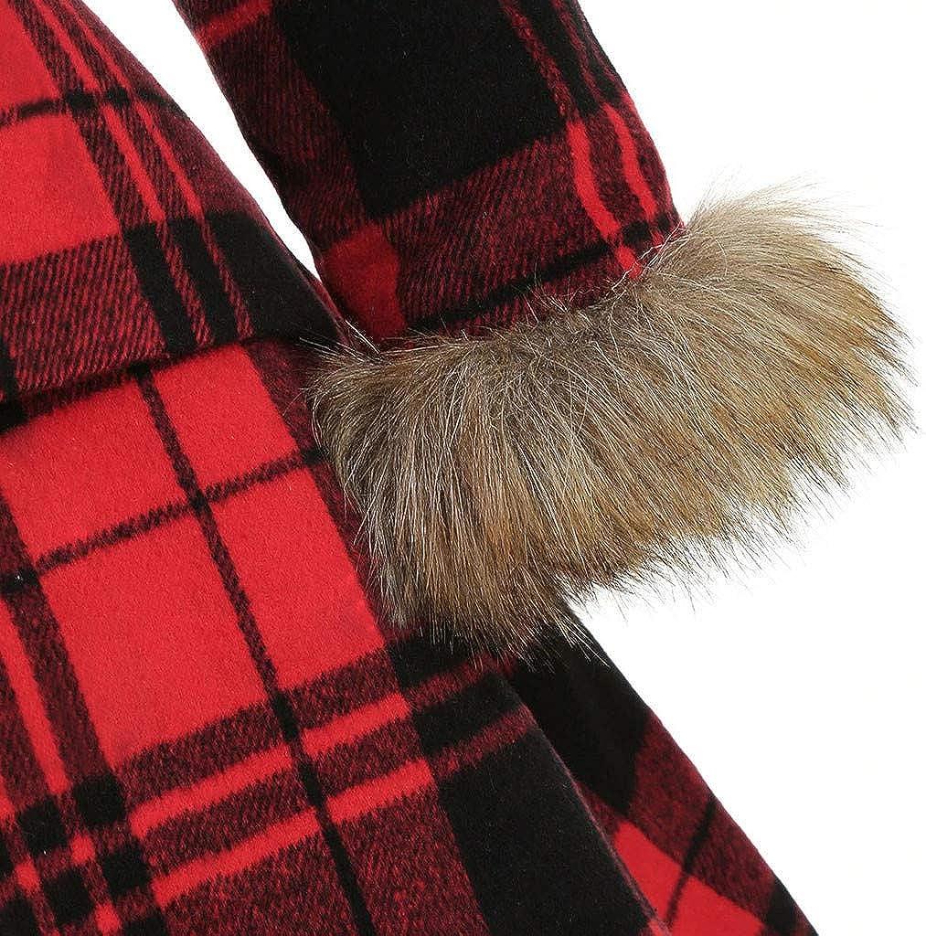 Lulupi Damen Winter Mantel Kleider Retro Vintage Mantelkleid Trenchcoat mit Kapuze Warm Parka Lange Pelzkragen Winterjacke Coats Rot