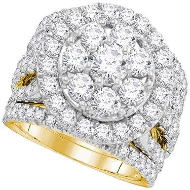 14kt Yellow Gold Round Diamond Halo Bridal Wedding Engagement Ring Band Set for Women 4.00 Cttw