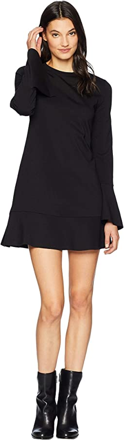 Ponte Long Sleeve Flounce Dress