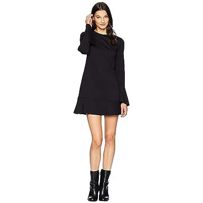 Michael Stars Ponte Long Sleeve Flounce Dress (Black) Women
