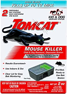 Tomcat Mouse Killer Disposable Station for Indoor/Outdoor Use - Child and Dog Resistant (2 Stations, with 1 Bait Each)