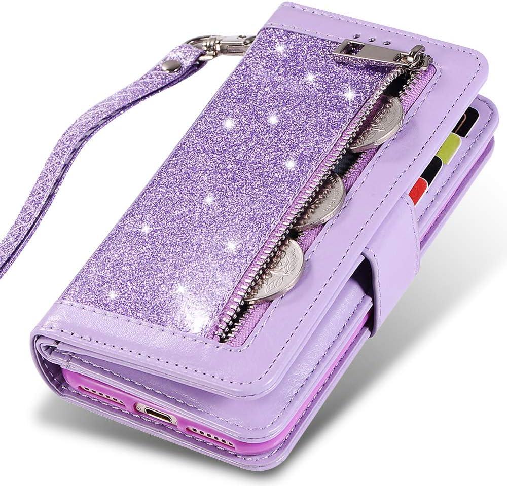 iPhone 7 Plus Card Holder Case,iPhone 8 Plus Wallet Case,Kudex Bling Glitter Flip Leather Zipper Money Pocket Magnetic Purse Case [Kickstand] with 9 Card Holder&Strap for iPhone 7Plus/8Plus (Purple)