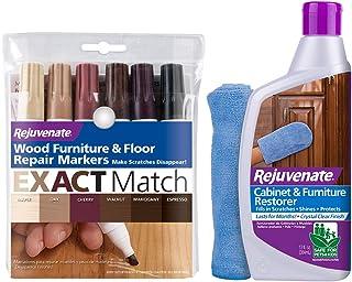 Rejuvenate New Improved Colors Wood Furniture and Floor Repair Markers & Cabinet and Furniture Restorer 13oz Fills in Scra...