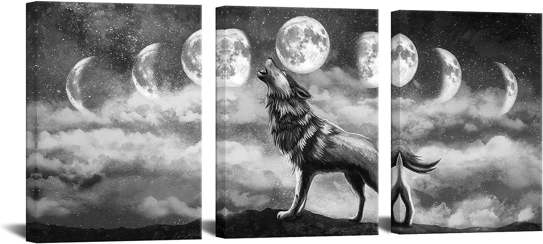 高品質 Biuteawal Black White 期間限定で特別価格 Animal Wall Art to Howling L Wolf the Moon