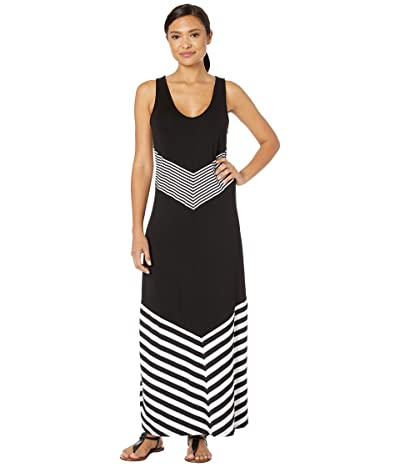 La Blanca Fine Line Tank Dress Cover-Up (Black/White) Women