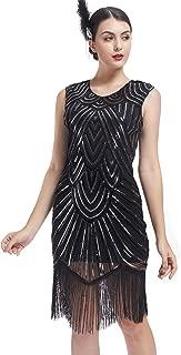 Women's 1920s Gatsby Dresses Retro Vintage Sequin Beaded Tassels Hem Fringe Flapper Dress