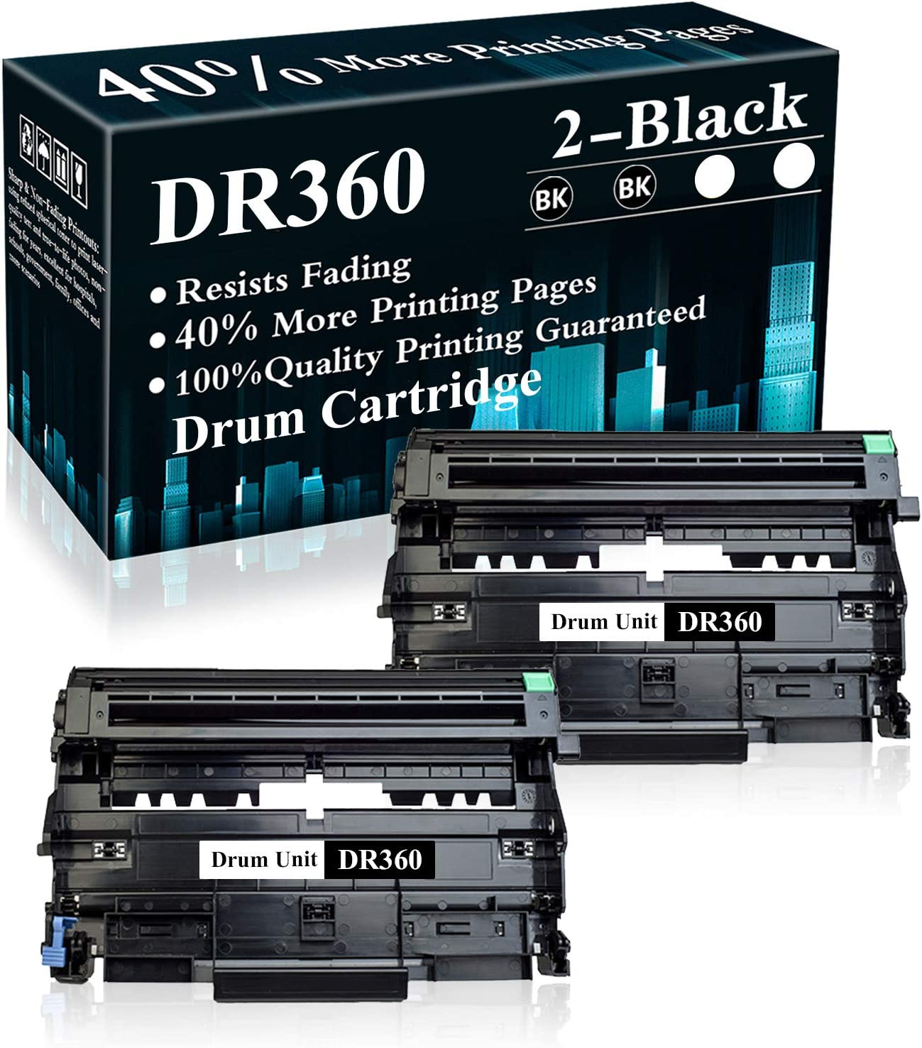 2 Pack DR360 Black Drum Unit Replacement for Brother DCP-7030 7040 7045N HL-2120 2150 2150N 2170 2170W MFC-7040 7320 7345N 7440 7440N 7840 7840W Printer,Sold by TopInk