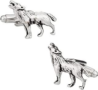 Howling Lone Wolf Silver Cufflinks with Presentation Box
