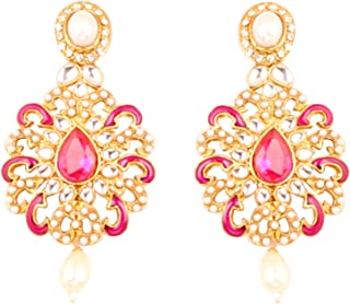 Indian bollywood Kundan mina white jewelry chandelier earrings in antique gold tone