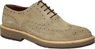 Wingtip Brogues Oxford Zapatos Ante Beige Cuero Hombres