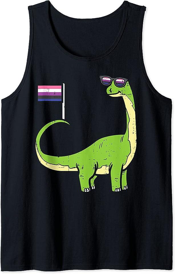 Brontosaurus Dinosaur Dino LGBTQ Genderfluid Flag Non-Binary Tank Top