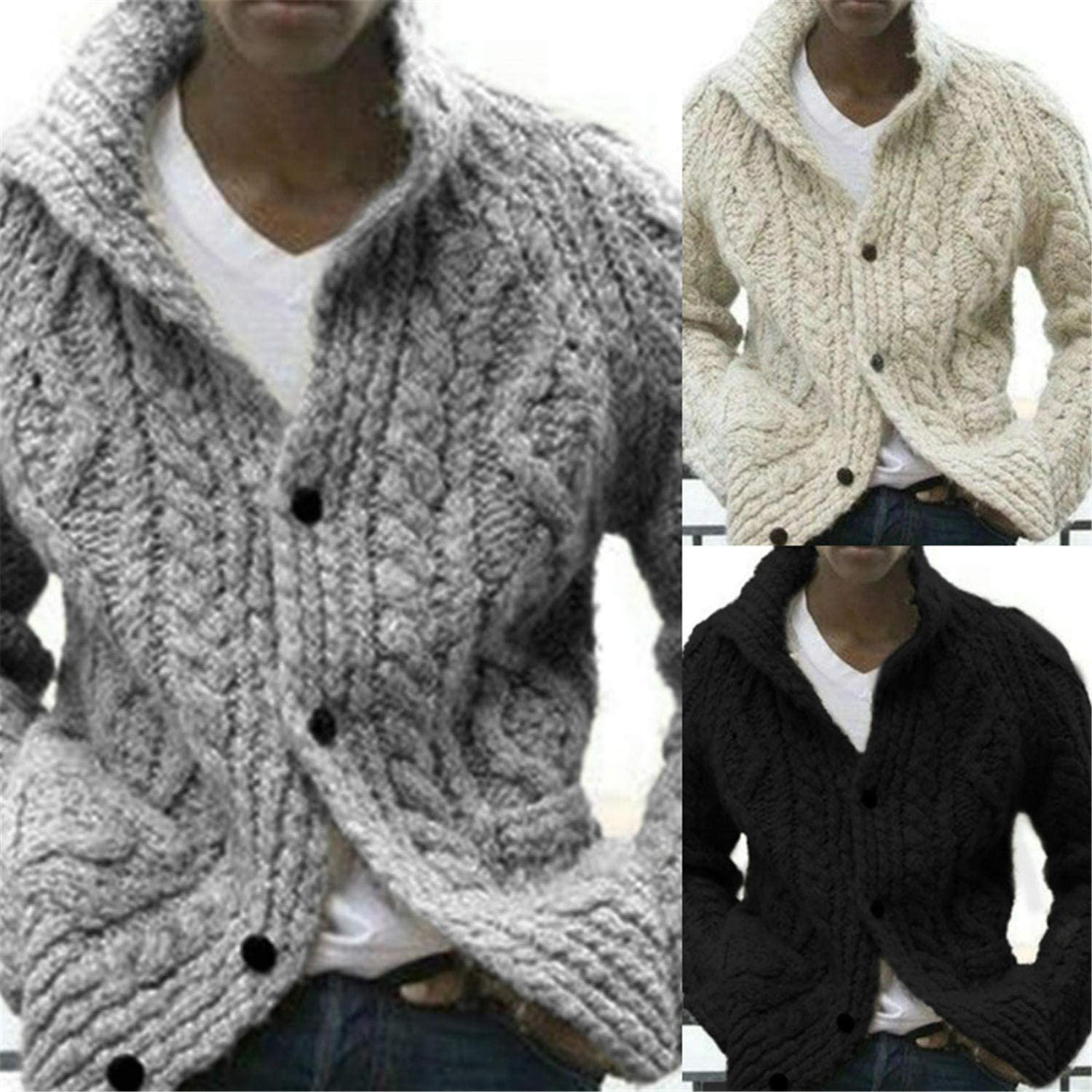 Soluo Mens Cable Knit Button Down Sweater Cowl Neck Casual Long Sleeve Basic Cardigan Jumper Outwear (Gray,Large)